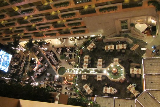 The Royal Garden : Looking down grin 12th floor to the restaurant