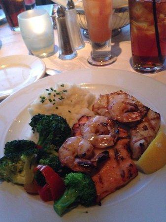 Fog Harbor Fish House : Mixed grill - salmon, swordfish and shrimp