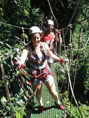 Vanuatu Jungle Zipline: crossing the bridge