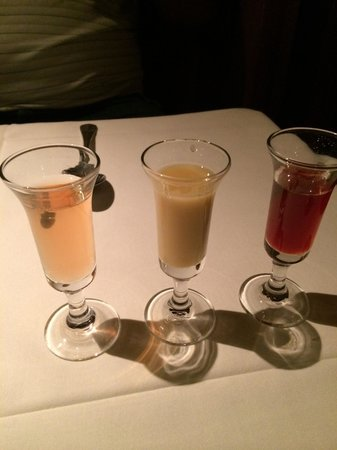 Oliveto Cafe and Restaurant: 3 of their house made liqueurs; amazing!!
