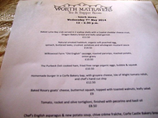 Worth Matravers Tea and Supper Room: Menu of the day