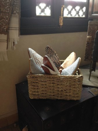 """Riad Assakina : Picture of some of the shoe""""s in Michele's shop"""