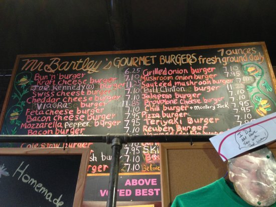 Mr. Bartley's Gourmet Burgers : La Carte