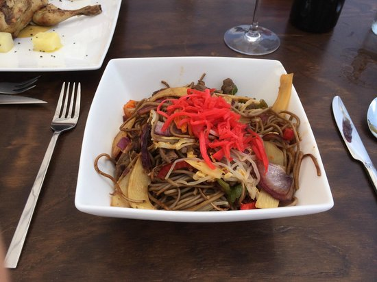 OSHUN Gastronomy Lounge: Yakisoba - wok of stir-fried beef noodles & vegetables