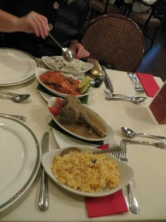 Okra salmon,pilau rice,andhra shank and mango rice - Picture of The ...