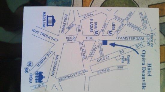 Opera Deauville Hotel: Retro biglietto da visita con piantina