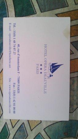 Opera Deauville Hotel: Biglietto da visita con contatti