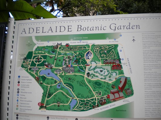 Adelaide Botanic Garden: map of the grounds