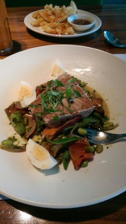 Wagamama: Mid-meal snap! Tuna salad with sweet potato. Delicious!