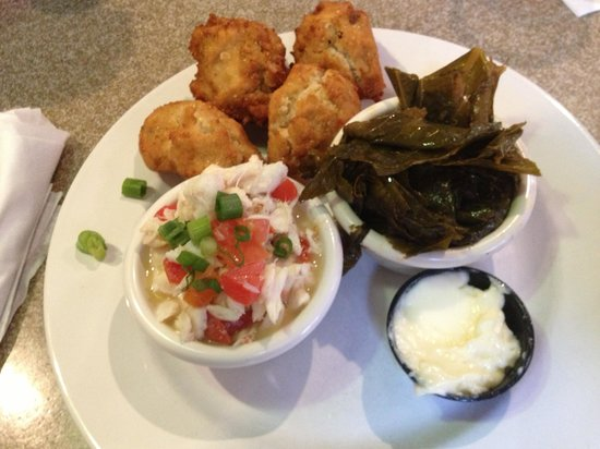A.W. Shuck's : Great size portions of crab, greens & hush puppies