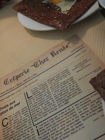 Creperie Chez Renee : Originale cette carte : un journal d'autrefois