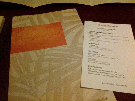 Tommy Bahama's Restaurant & Bar : The menu