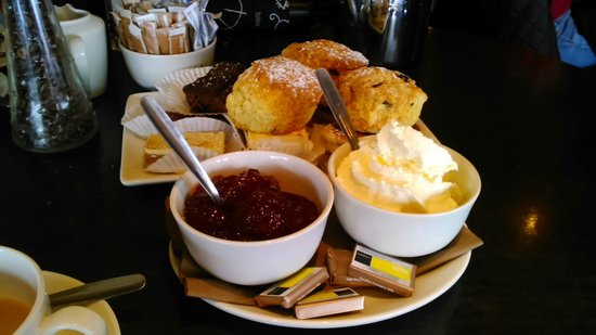 Waterfront Restaurant: High tea menu - warm scones, jam and cream