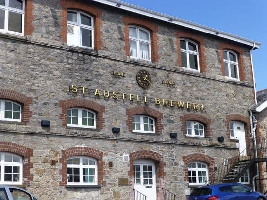 St Austell Brewery: main sign and clock