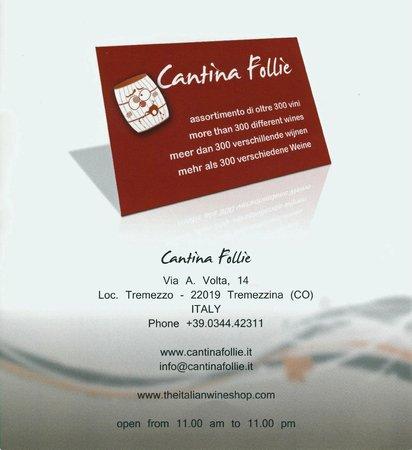 Cantina Follie: carte