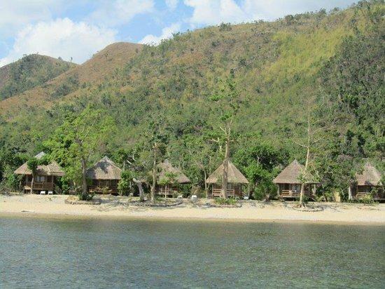 Cashew Grove Beach Resort: Vue des bungalows depuis la mer