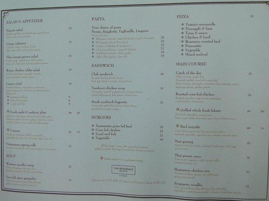 Fourth Restaurant Menu