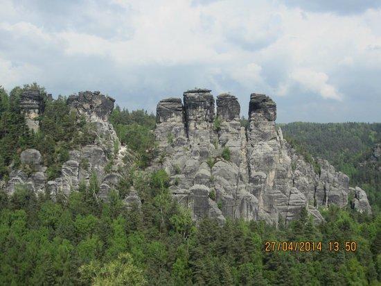 Bastei: Uitzicht op kenmerkende rotspartijen