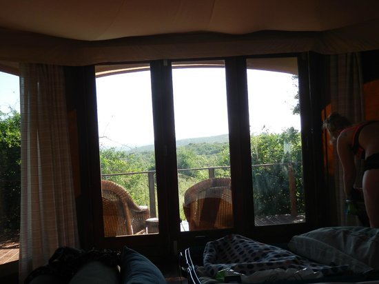 Thanda Safari Lodge: View from the bed at the tented camp, tent No. 5.