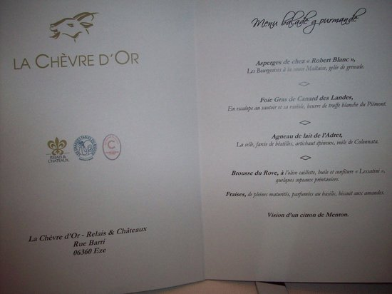Chateau de la Chevre d'Or: Menu from Chevre D'or Restaurant