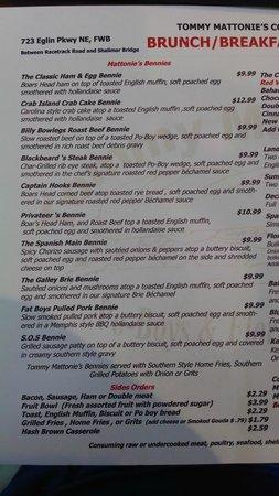 "Tommy Mattonie's Coastal Cafe: The ""Bennie"" side of the Breakfast Menu"