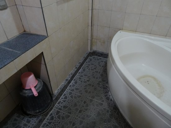 Kunang-Kunang Guesthouse: Czystość na ścianach i przy wannie.