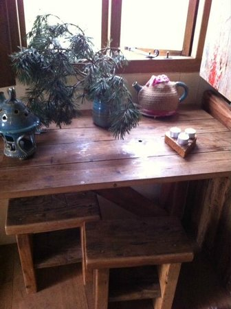 Wild Northumbrian Tipis and Yurts: Table and decorations in Hut