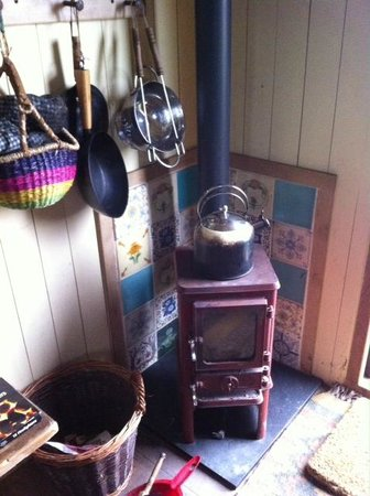 Wild Northumbrian Tipis and Yurts: Wood Burning Stove in the Shepherd's Hut