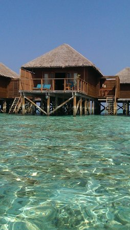 Meeru Island Resort & Spa : Our villa, taken from the warm water while snorkling