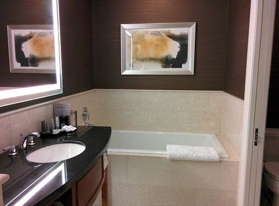 JW Marriott Chicago: Spacious bathroom with bathtub and shower.