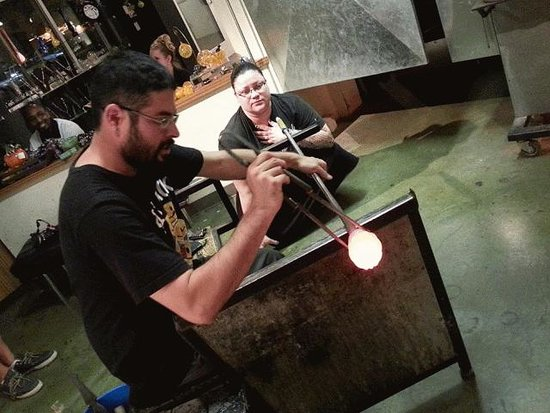 Studio West Glassblowing Studio and Gallery : Blowing glass with Alejandro
