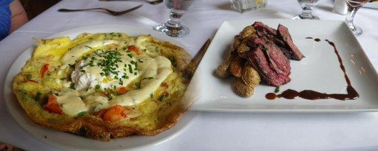 The Restaurant at the Golden Eagle Inn: Lobster fritata and  steak & potatoes