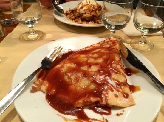 Creperie Suzette : Foreground: apple/caramel crepe; background: apple crumble