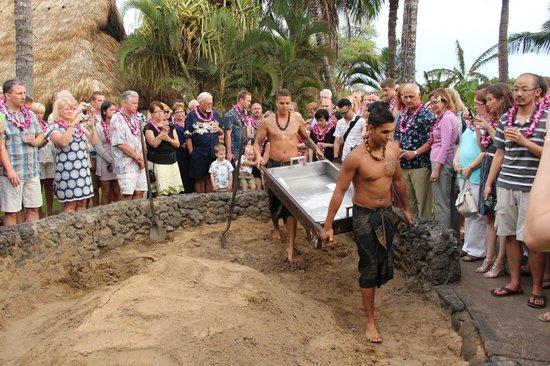 Old Lahaina Luau: Preparing for the pig!