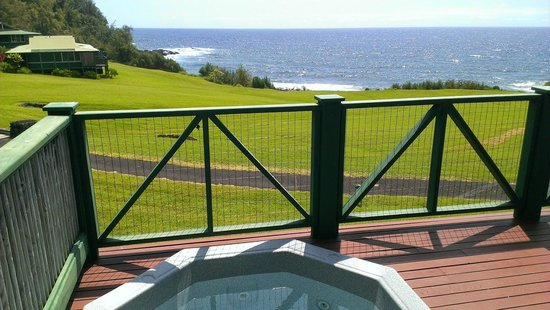 Travaasa Hana, Maui: Sea Cottage #409 (Ocean Front w/ Spa) - From standing behind spa looking out at view from #409.