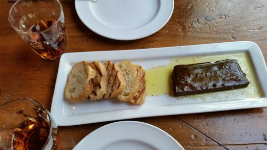 Sardine Can : Chocolate terrine and sherry for dessert!