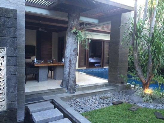 Le Jardin Villas, Seminyak: villa 5 from the front door