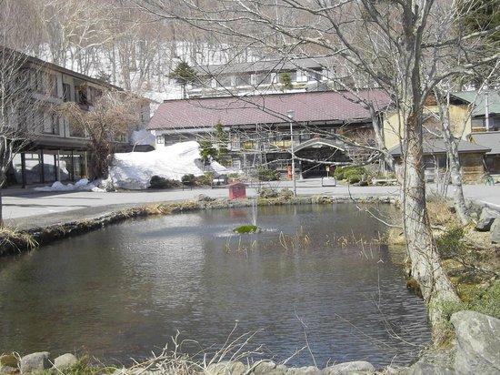 Tsuta Onsen Ryokan: 池がある敷地内・本館