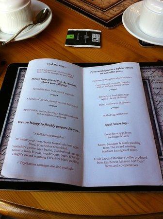 Bronte Guest House : Breakfast menu