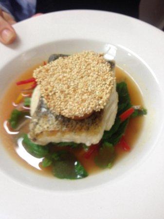 The Boathouse Bistro Dromquinna Manor : Hake Asian salad tomato chilli broth and prawn toast