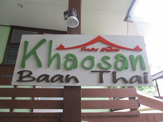 Khaosan Baan Thai: The sign