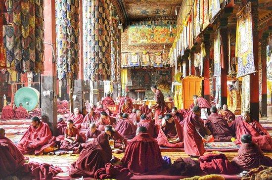 Inside a Tibetan Buddhist monastery