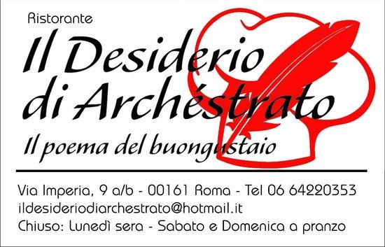 Il Desiderio di Archestrato: Biglietto da Visita