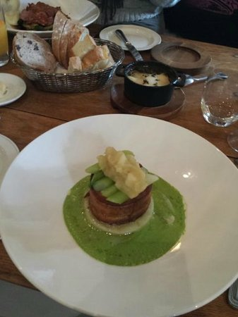 The Old Bell Hotel: Pork belly with leek veloute nd potato terrine