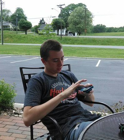 Holiday Inn Express Hotel & Suites Mount Airy South: Oldest son relaxing with us at the patio