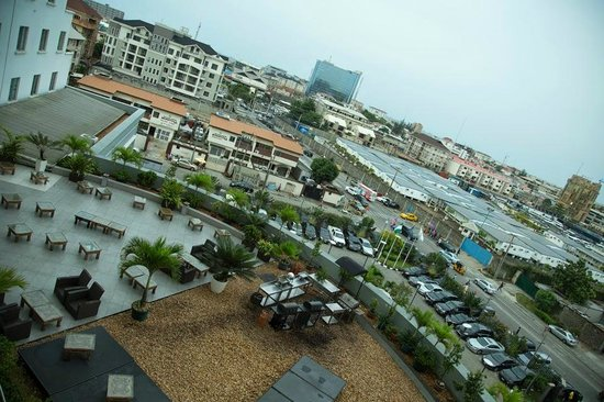 "Four Points by Sheraton Lagos: View of roof top bar ""The Office"" from my room 404"