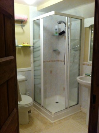 Drewin Farm : The well stocked bathroom (twin ensuite room)