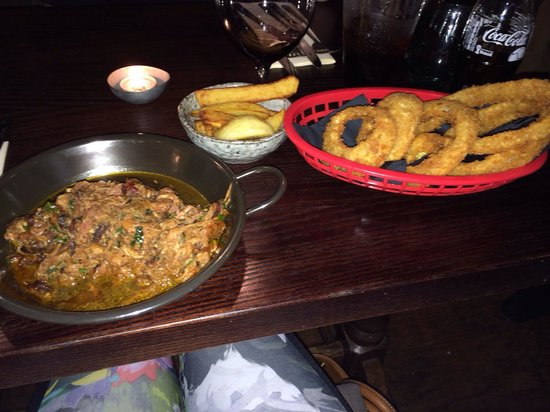 The Adelphi Kitchen: pulled pork, onion rings and chips! DELISH