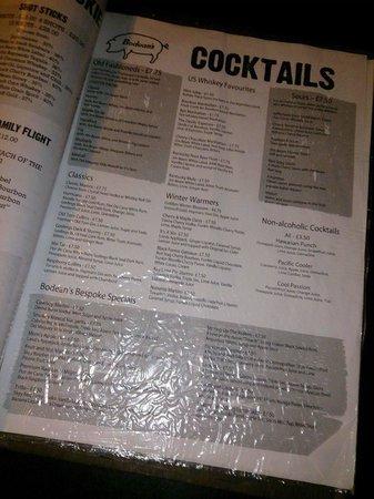 Bodean's BBQ - Soho: Cocktail menu!
