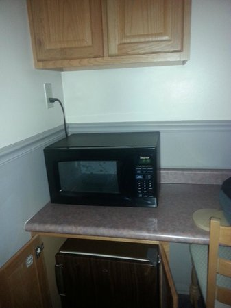 Ambassador Inn & Luxury Suites: Microwave and fridge and a cabinet to hold your personal items